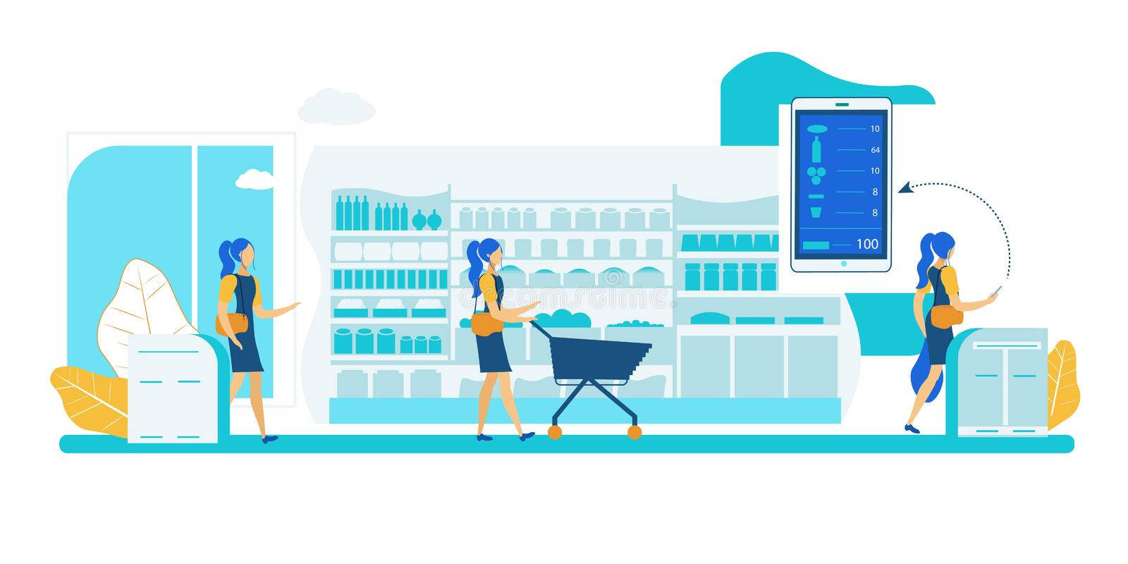 Self Service Store. Smart Shelf Vision Technology. Self Service App Checkout Store. Smart Shelf Sensor Vision Technology. Automatic Purchase Detection and stock illustration