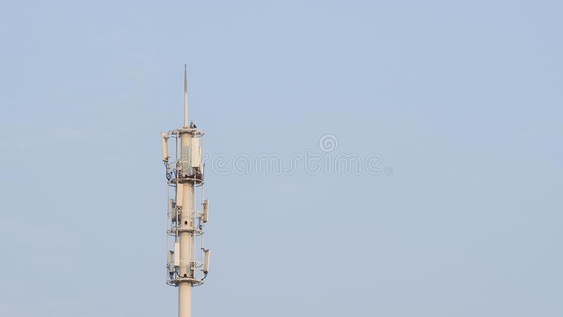 Self Support, Guyed Tower, Guyed Mast, Pole. Telecommunication Tower. Cell Phone Signal Tower on sky background. Can be used for display or montage your stock image