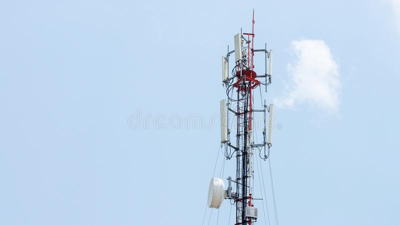 Self Support, Guyed Tower, Guyed Mast, Pole. Telecommunication Tower. royalty free stock image