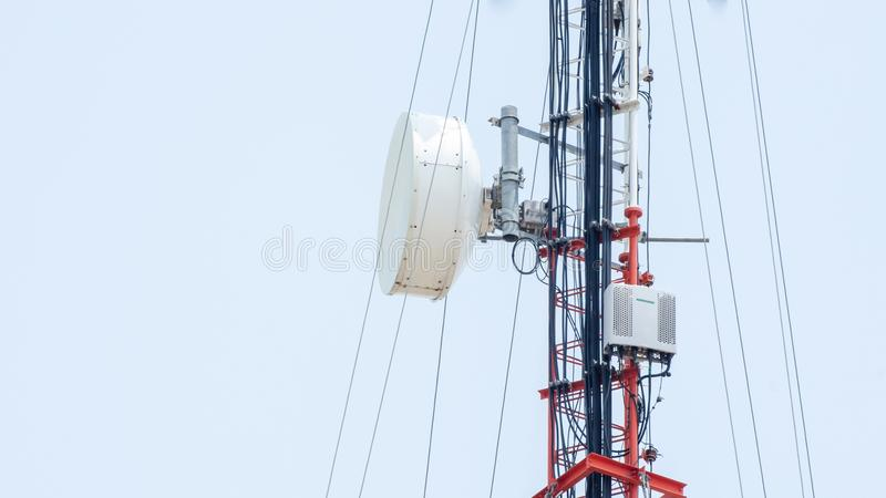 Self Support, Guyed Tower, Guyed Mast, Pole. Telecommunication Tower. Cell Phone Signal Tower on sky background Can be used for display or montage your stock photo
