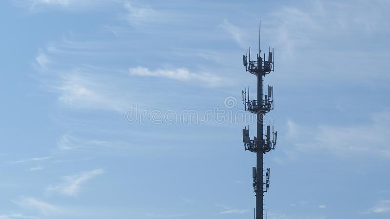Self Support, Guyed Tower, Guyed Mast, Pole. Telecommunication Tower. Cell Phone Signal Tower on sky background. Can be used for display or montage your royalty free stock photography