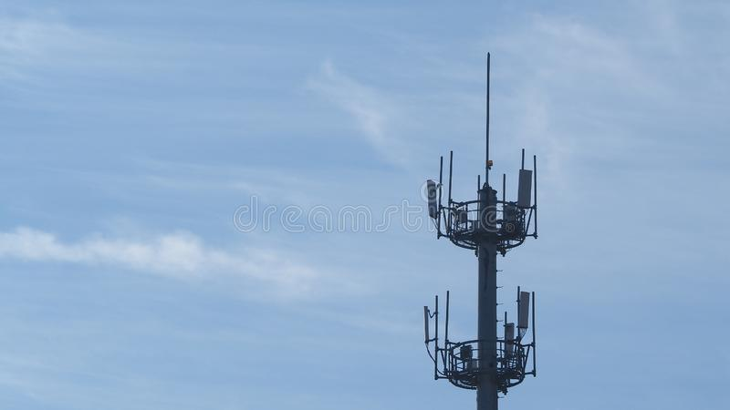 Self Support, Guyed Tower, Guyed Mast, Pole. Telecommunication Tower. Cell Phone Signal Tower on sky background. Can be used for display or montage your royalty free stock image
