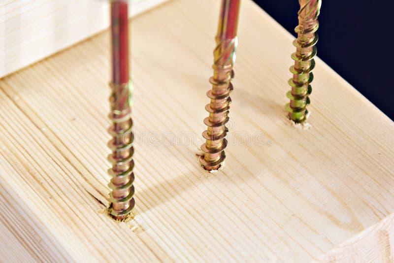 Self-tapping schroeven in houten raad stock fotografie