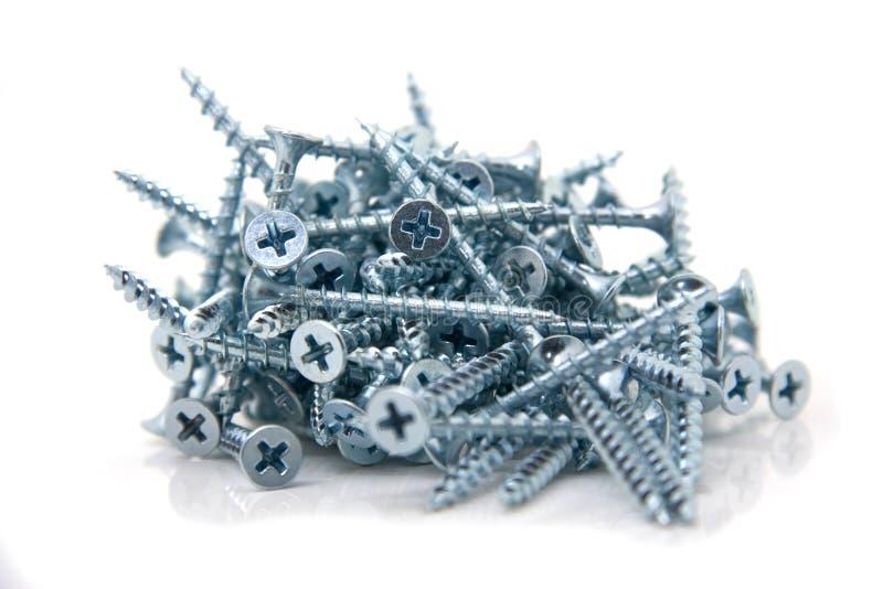 Self tapping steel screws stock image