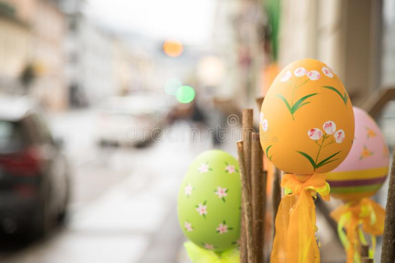 Self-tinkered easter eggs, outdoor-decoration in a shopping street stock photos