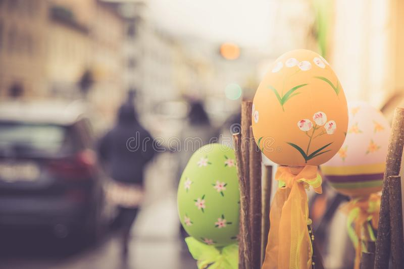 Self-tinkered easter eggs, outdoor-decoration in a shopping street stock image