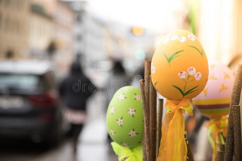 Self-tinkered easter eggs, outdoor-decoration in a shopping street stock images