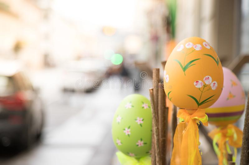 Self-tinkered easter eggs, outdoor-decoration in a shopping street royalty free stock image