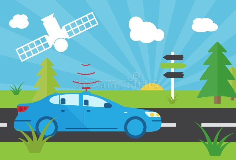 Selfdriving car with navigation sensor vector illustration