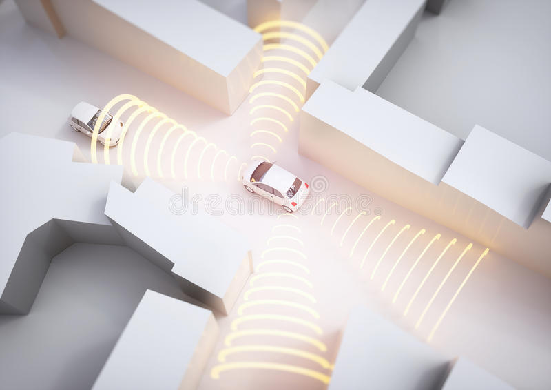 Selfdrivingsauto in actie - het 3D Teruggeven stock fotografie