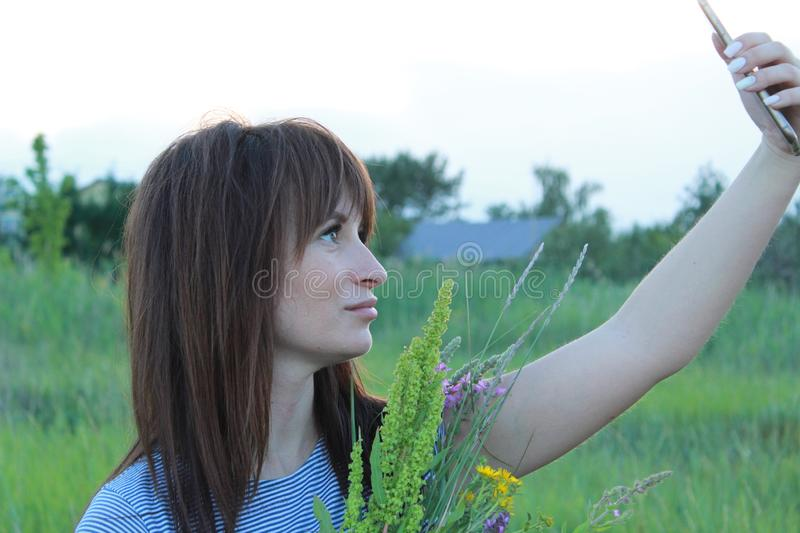 Selfi on the background of nature stock image