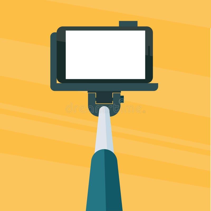 Selfie与智能手机的棍子monopod 向量例证