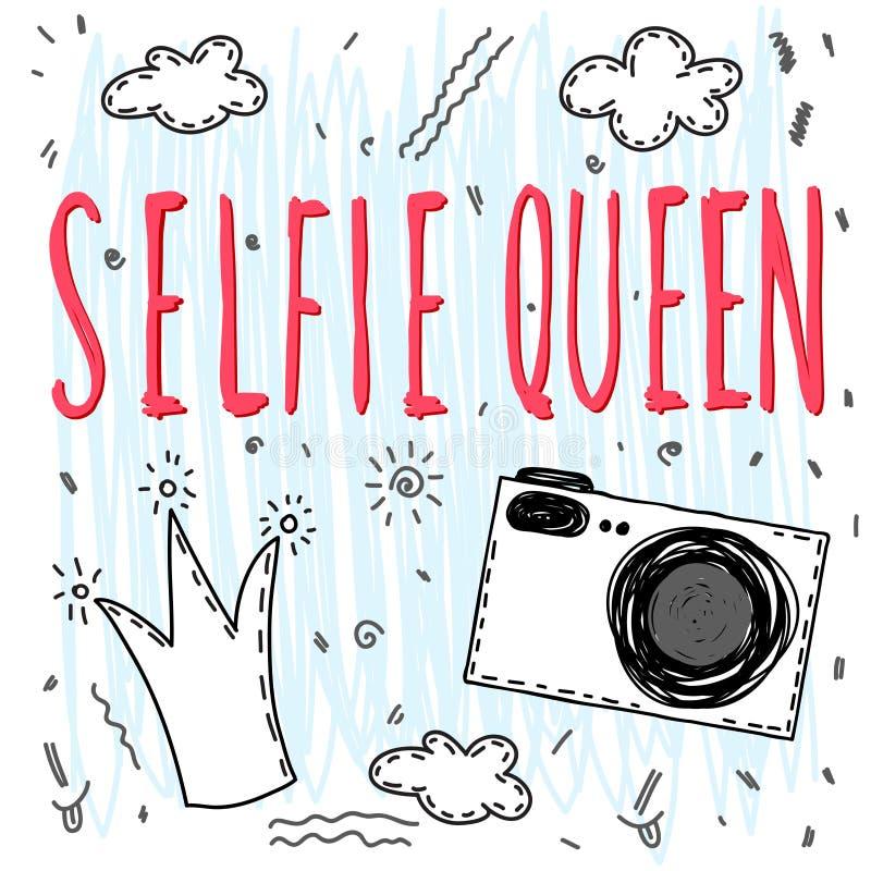 Selfie女王/王后 手写的字法和手拉的乱画冠、照相机和云彩 库存例证