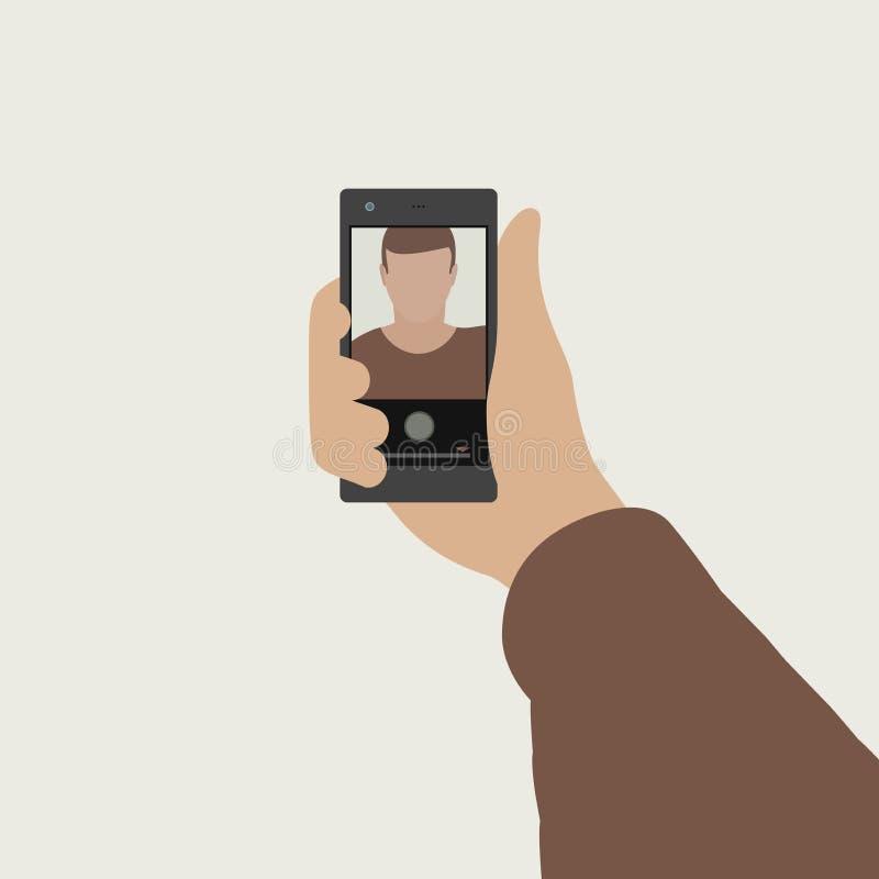Selfie平的横幅 向量例证