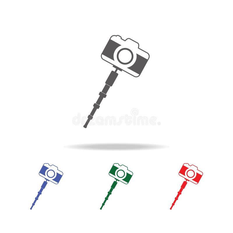 Selfie忠心于照片照相机象 照片照相机的元素在多色的象的 优质质量图形设计象 简单 库存例证