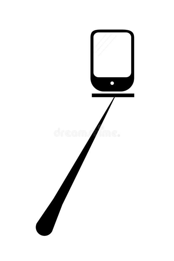 Selfie棍子和智能手机,隔绝在白色 库存例证