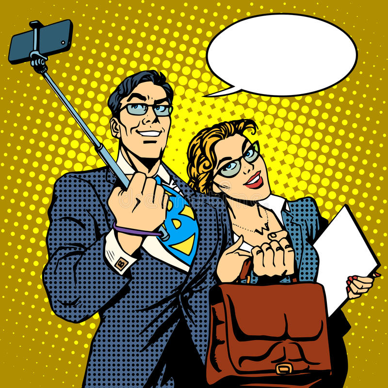 Selfie棍子商人和女实业家照片 皇族释放例证