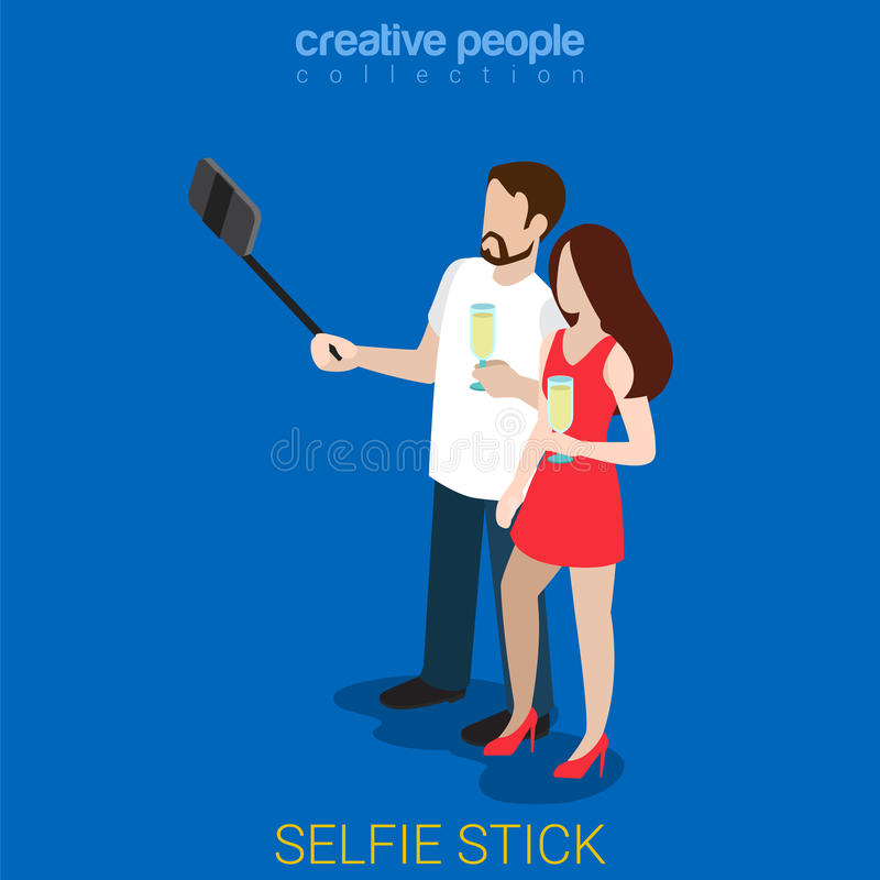 Selfie棍子夫妇平的3d等量传染媒介 皇族释放例证