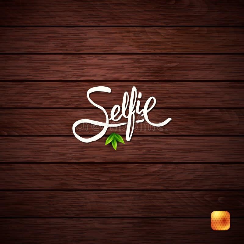 Selfie概念的简单的文本设计在木头 免版税库存照片