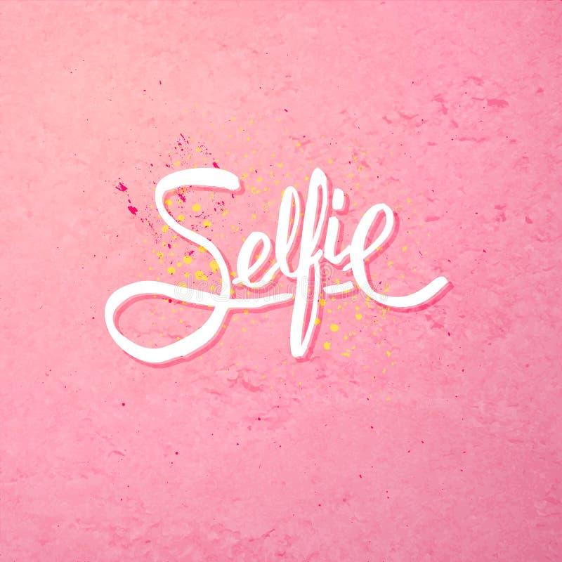 Selfie概念的简单的文本设计在桃红色 皇族释放例证