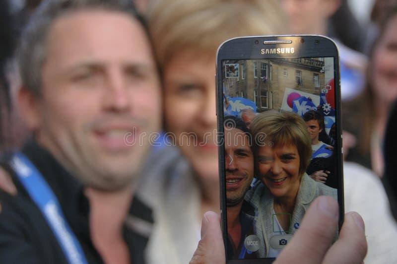 Selfie用Nicola鲟鱼苏格兰2014年 免版税库存照片