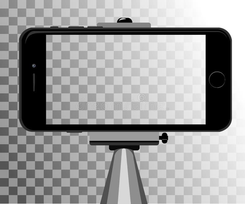 selfie的棍子 Monopod Selfie射击动画片例证 做自画象的年轻夫妇 库存例证