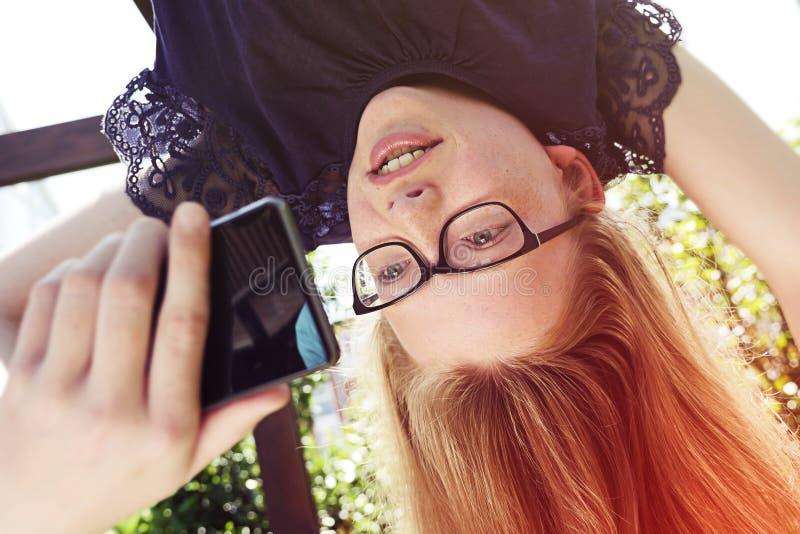 Selfie à l'envers photos libres de droits
