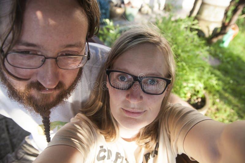 Selfie ενός αγοριού και ενός κοριτσιού στοκ εικόνες