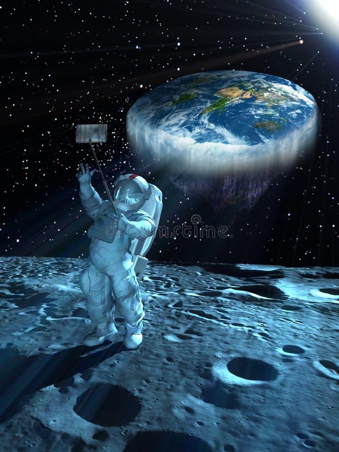 Selfie με την επίπεδη γη στο διάστημα διανυσματική απεικόνιση