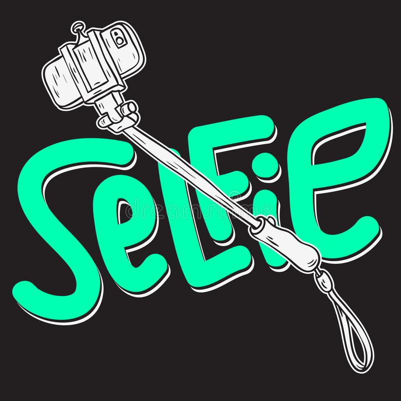 Selfie ραβδιών σχεδίου καλλιτεχνικές απεικονίσεις σχεδίων ύφους τέχνης γραμμών κινούμενων σχεδίων συρμένες χέρι περιγραμματικές απεικόνιση αποθεμάτων