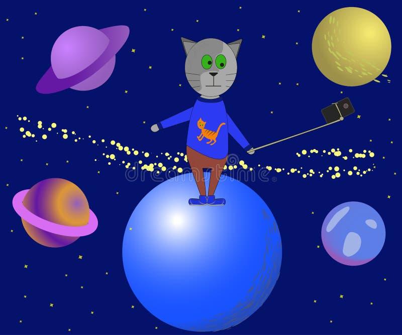 Selfie στο διάστημα Αστεία διανυσματική απεικόνιση με μια γάτα ελεύθερη απεικόνιση δικαιώματος