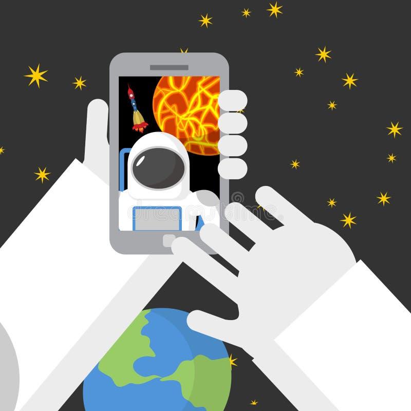 Selfie στο διάστημα Ο αστροναύτης φωτογραφίστηκε στο τηλέφωνο ενάντια ελεύθερη απεικόνιση δικαιώματος