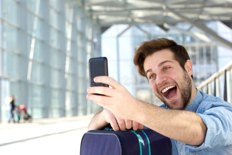 Selfie выражения стороны потехи стоковая фотография