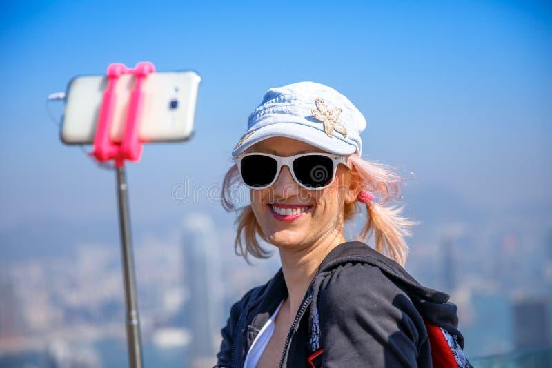 Selfie путешественника пика Виктории стоковые фотографии rf