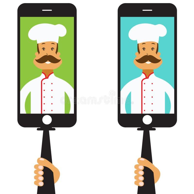 Selfie с шеф-поваром шаржа вектор иллюстрация вектора