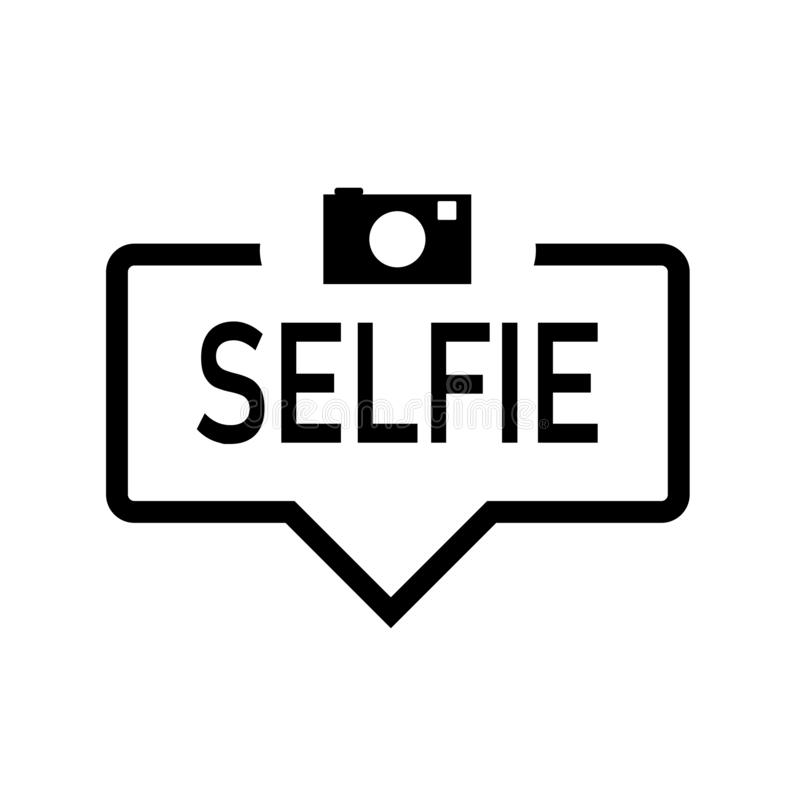 Selfie anförandebubbla med symbolen som isoleras Plan design p? vit bakgrund vektor illustrationer