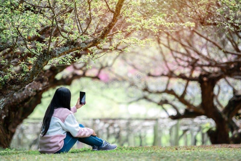 Selfie asiatique de prise de voyageuse de femme dans le jardin photos libres de droits