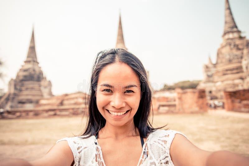 Selfie in Ayutthaya stock fotografie
