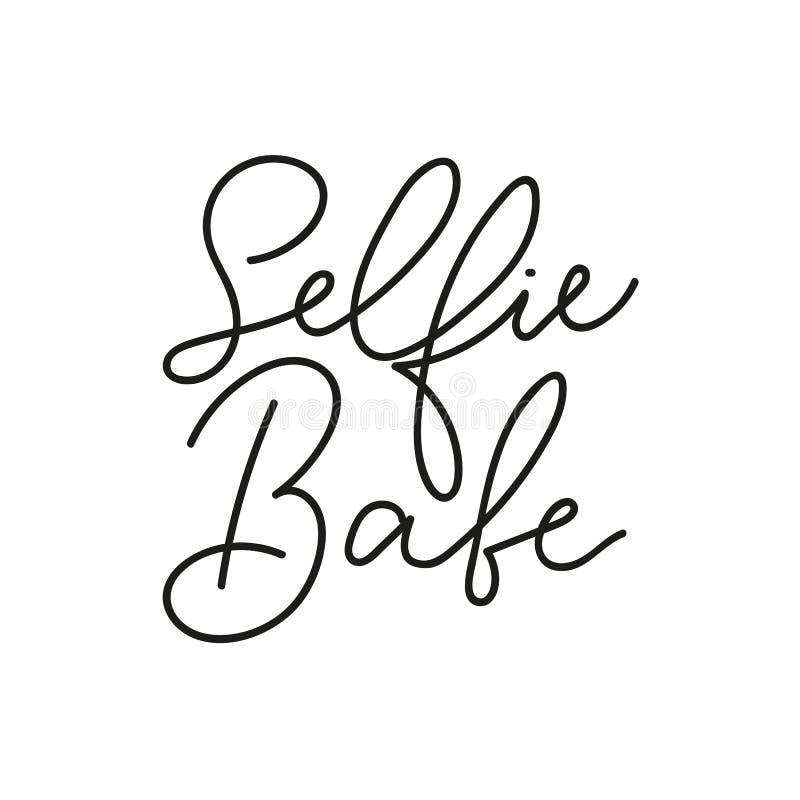 Selfie babe t-shirt design with lettering. Feminine inspirational print. Vector illustration. stock illustration