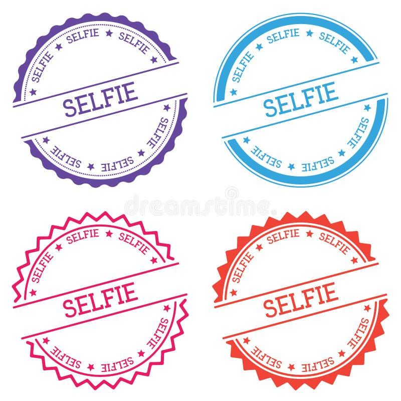 Selfie badge isolated on white background. royalty free illustration