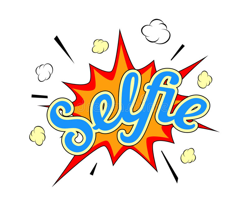 Selfie burst. Icon on white background in popart style vector illustration