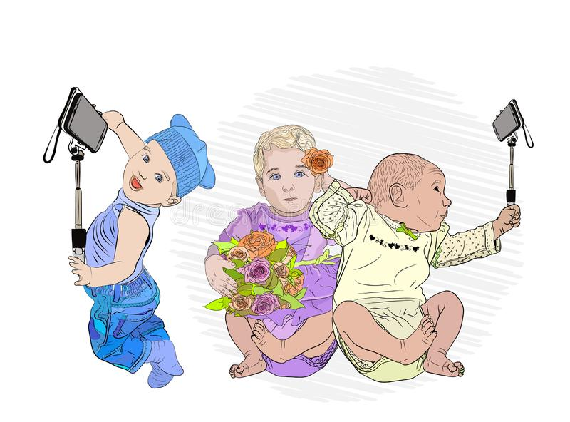 Selfie children. day vlantin. cute babies make selfies. With a girl with flowers .. children with piles are friends with new technologies. Vector illustration royalty free illustration