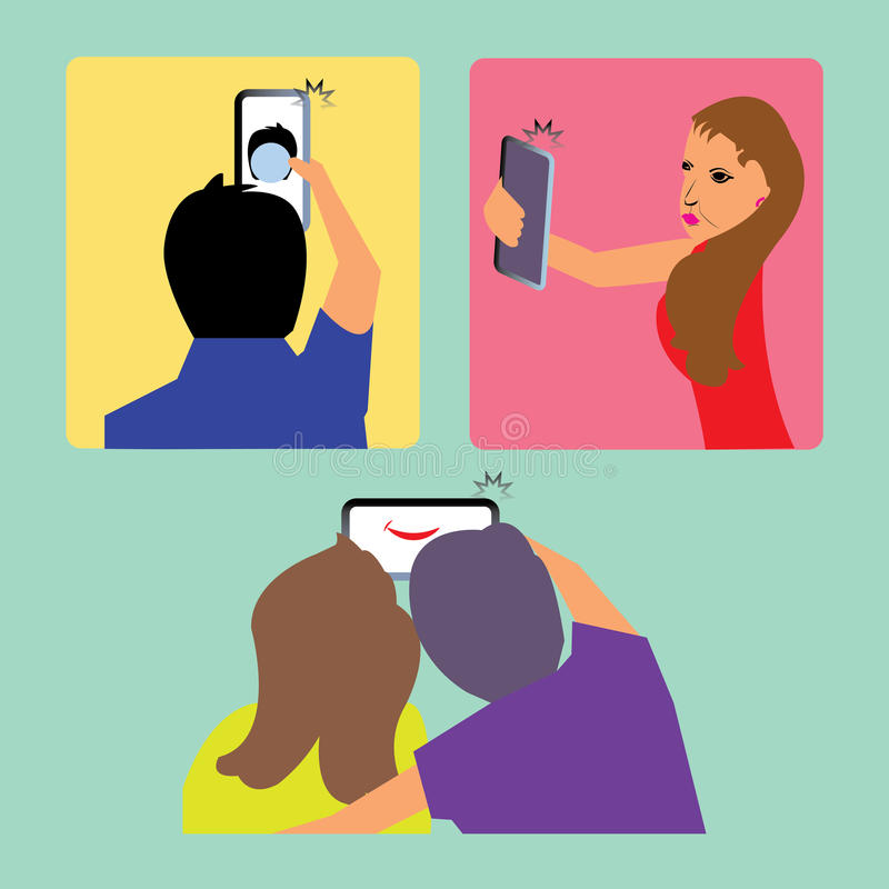 Selfie clipart. Capturing selfie in cellphone shown in three different situations stock illustration
