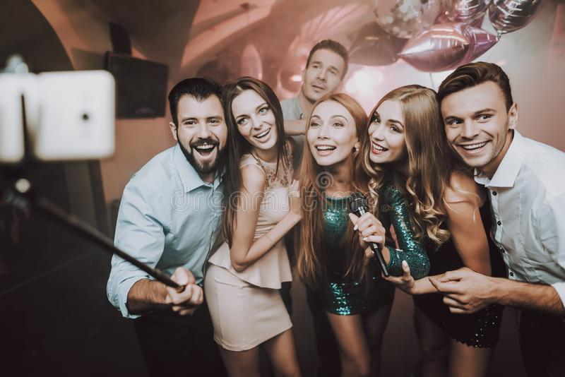 Selfie. Club. Young People Sing Songs. Great Mood. Selfie Club Young People Sing Songs. Great Mood Karaoke Club. Celebration. Holidays Dancing People Smiling stock photo