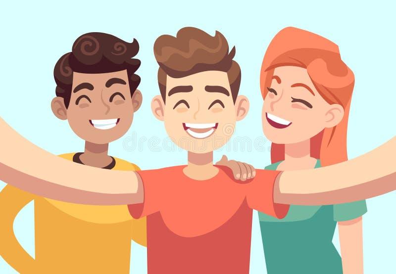 Selfie com amigos Adolescentes de sorriso amigáveis que tomam o retrato da foto do grupo Personagens de banda desenhada felizes d ilustração do vetor