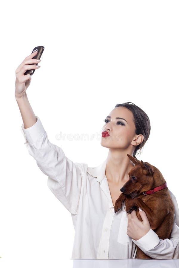 Selfie con un cane fotografia stock libera da diritti