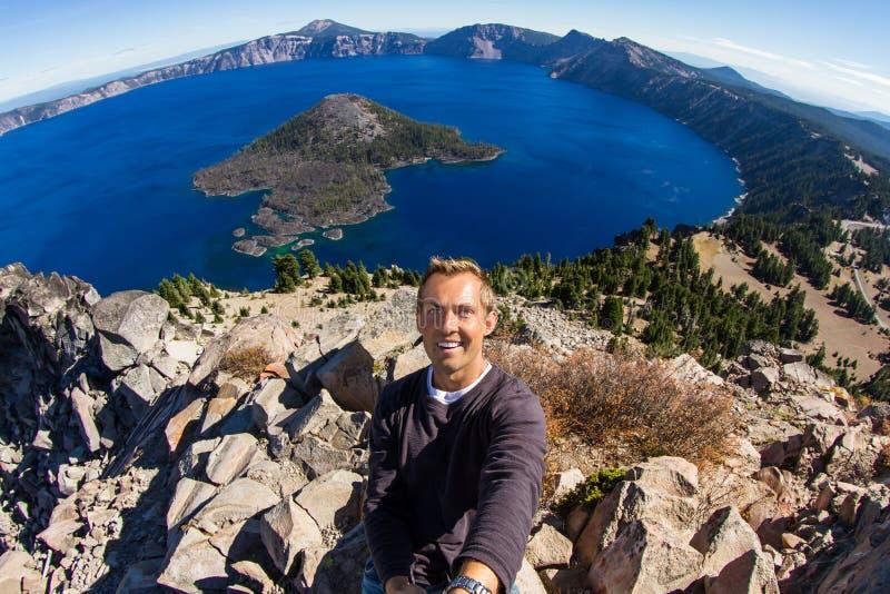Selfie at Crater Lake stock images