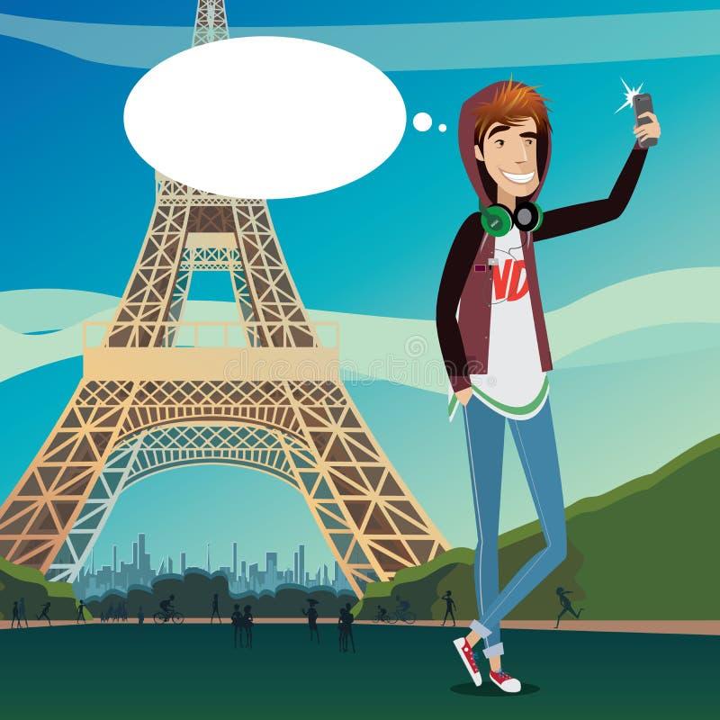 Selfie da torre Eiffel ilustração royalty free