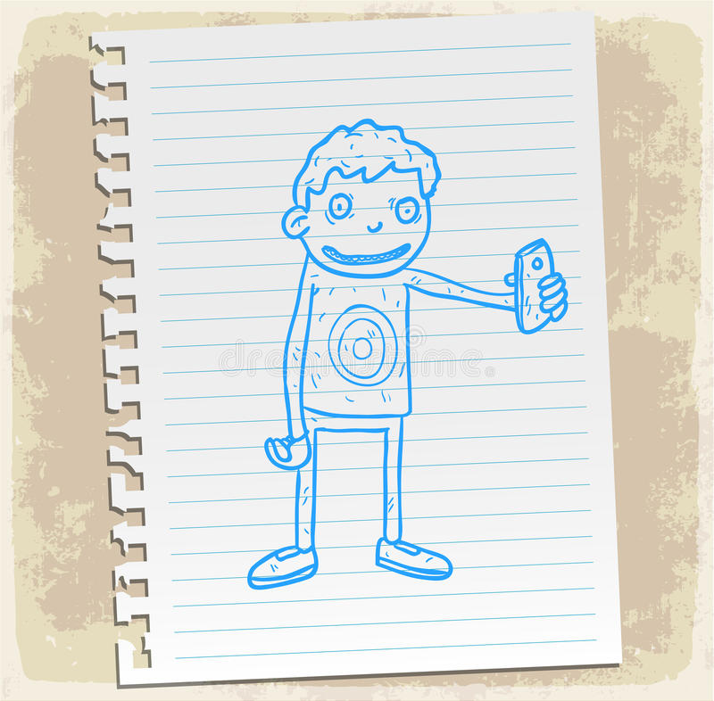 Selfie de bande dessinée sur la note de papier, illustration de vecteur illustration de vecteur