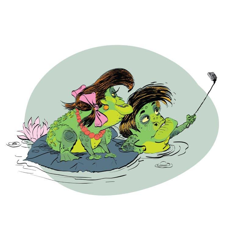 Selfie de grenouille de femme d'homme de couples illustration libre de droits